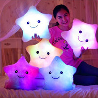 Wholesale Christmas Throws Free Shipping - 2016 Cute Colorful Illuminated Star Shaped LED Cushion Throw Pillow Novelty Gifts Christmas gift 2 styles free shipping