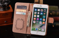 Wholesale Luxury Iphone 5c Cases - Leather Wallet case for iPhone 8 7 6 6S Plus 5S SE 5C Brand Luxury Cover for Samsung Galaxy S8 Plus S7 S6 Edge Note8 5 Card Holder