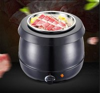Wholesale Electronic Cooker - Wholesale-heating insulation black soup pot conjecturing furnace stainless steel commercial furnace 10L Electronic soup cooker