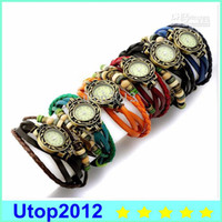 15% Big Promotion Retro Quartz Fashion Weave Wrap Around Bracelet en cuir Bangle Femme Tree Leaf Green Girl Watch + 6colors