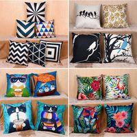 Wholesale office sofa designs - 19 Design Pillow Case Linen Cartoon Geometric Abstraction Square Pillow Case Cushion Cover Office Home Sofa Car Decoration 45*45cm WX9-121