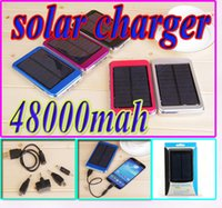 Wholesale Solar Panel Iphone Usb - Dual USB 48000mah Charging Ports 5V 2.1A 1.5W Solar Panel Charger High Capacity 48000 mah Travel Power bank Battery for iPhone Samsung