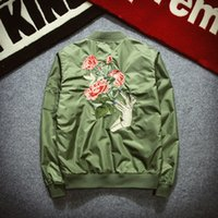 Wholesale Winter Fashion Mens Coat Navy - Winter Mens Fashion Flight Bomber Jackets Male Back Embroidery Florales Outerwear Sports Coats Army Green Navy Blue Black S-2XL