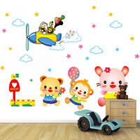 Wholesale Removable Stickers Aircraft - Cute Animal Aircraft Pilot Wall Stickers Decal & New Arrival Glow in the dark smile face wall Art Murals
