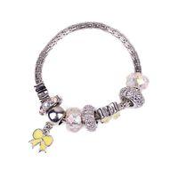 Wholesale European Style Porcelain Ceramic - European Beads Fit Charm Bracelets for Women Murano Rhinestone Bowtie Pendant Pandora Style Bracelet Fashion Jewelry Snake Chain BL140339