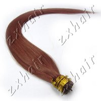 Wholesale Chinese Stick For Hair - Good Quality For women Gift 24inch Straight Stick-I shape tip Hair Extension Color #33 Dark Auburn 100s pack 50g 0.5g s