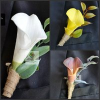 2015 New Wedding Boutonniere Artificial Natural Real Touch Calla Lily Corsages Hand-made Groom's Boutonniere accessoires de mariage épingles de mariée