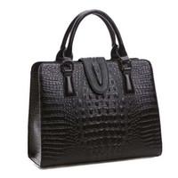 Wholesale Leather Messenger Bag Pattern - Genuine leather bag ladies crocodile pattern Women messenger bags handbags women famous brand designer