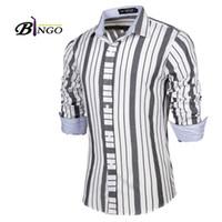 Wholesale Monochrome Dresses - Wholesale-Bingo 2016 free shipping M-XXL European & American Fashion men's Monochrome bars shirt men's cultivating long-sleeved shirts