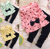 Wholesale Set Girl Retail - Retail Baby Girl Clothing Set Heart-shaped Print Bow 2 Pieces Dress+pants 100% Cotton 3 Colors Red Yellow Green