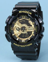 Wholesale Led Pointer Watch Mens - Mens G Sports GA110 Luxury Watches LED Waterproof Digital S Shock Men 100 Watch All Pointers Work Auto Light with Box Drop Ship