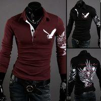 Wholesale Long Slim Polo Design - New Mens Shirts Western Design Style Eagle Printed Long Sleeve Men Shirt Pure Color Simple Autumn Shirts Plus Size M L XL XXL