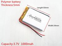 Wholesale Hot Model Mp3 - Hot selling 3.7V 1000mAH 503450 PLIB polymer lithium ion   Li-ion battery for GPS,mp3,mp4,mp5,dvd,bluetooth,model toy mobile bluetooth