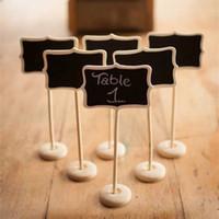 tahta tablo toptan satış-Toptan Satış - Toptan Satış - Toptan Düğün Dekorasyon Dekorasyon için Stick Stand Tutucu Tablo Numarası On Toptan-5pieces Mini Ahşap Ahşap Kara Tahta Blackboard