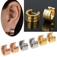 Wholesale mexican silver hoop earrings - 12Pairs New Fashion Men Women 316L Stainless Steel Ear Huggie Hoop Earrings Gauges Silver Golden Tone Jewelry Gift Drop Free Ship