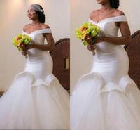 vestido de tule branco venda por atacado-2016 Plus Size Sereia Vestidos de Casamento Branco Fora Do Ombro Tule Até O Chão Vestido de Noiva Vestidos De Casamento Vestidos Custom Made Vestidos