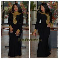 Wholesale Spandex Kaftan - Black Moroccan Kaftan Muslim Evening Dress 2017 robe de soiree Sexy High Neck Gold Beads Floor Length Mermaid Plus Size Party Prom Dresses