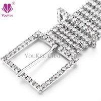 Wholesale wedding rhinestone belt buckles - 8 Rows Full Cubic Zirconia Wedding Belt Sparkling Rhinestone Chain Belt Wide Waist Chain Belt Cintos Femenino Belts & Accessories BL-568