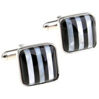 black pearl cufflinks - Norway impression black and white vertical stripes pearl Square Cufflinks Cufflinks MTS