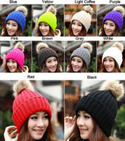 Wholesale Winter Fashion Beanie Classic Tight Knitted Fur Pom Poms Hat Women Cap Winter Beanie Headgear Headdress Head Warmer Top Quality