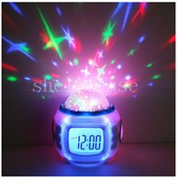 Wholesale Star Projector Sounds - Christmas Alarm Clock Colorful Music Starry Star Sky projector Calendar Thermometer Sound Machine Clock Nature Meditation Baby Night Light