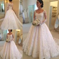Wholesale Hottest Plus Size Models - 2017 Latest Hot Sale Scoop Neck A-line Long Sleeve Lace Wedding Dresses Button Back Appliques Beaded Bridal Wedding Gowns Vestido De Noiva