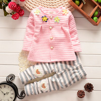 Wholesale Infant Girl Cardigans - Baby Cothes Girls Flower Suit Cardigan + Pants 2pcs   set infant jacket Kids clothes Striped Pants free shipping