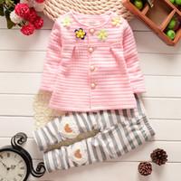 Wholesale infant girl cardigans - Baby Cothes Girls Flower Suit Cardigan + Pants 2pcs   set infant jacket Kids clothes Striped Pants free shipping