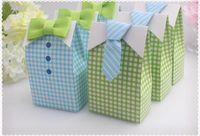 мальчики зеленый лук связь оптовых-Мой маленький человек синий зеленый галстук-бабочку день рождения мальчик душ пользу конфеты лечить сумка свадебные сувениры коробка конфет подарочные пакеты