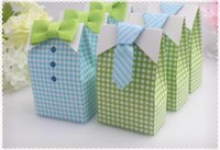 Wholesale baby shower favor bag blue - 300 pcs My Little Man Blue Green Bow Tie Birthday Boy Baby Shower Favor Candy Treat Bag Wedding Favors Candy Box gift Bags