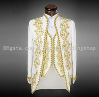 Wholesale White Groomsmen Embroidery Suits - White With Gold Embroidery Groom Tuxedos Stand Collar Groomsmen Mens Wedding Tuxedos Prom Suits (Jacket+Pants+Vest) NO:1512