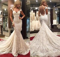 Wholesale Short White Organza Dresses - 2016 Long Mermaid Full Lace Wedding Dresses Sweetheart Sleeveless Floor Length Appliques Plus Size Backless Wedding Gowns Chapel Train