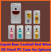 Wholesale Beer Hard Case Iphone - Originality Liquid Floating Magical Beer Cocktail Red Wine 3D Case Hard Clear Transparent PC Back Cover For iPhone 6 Plus 4.7 5S 5