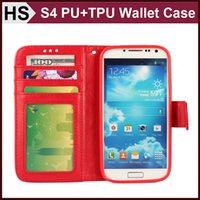 Wholesale Galaxy S4 Drop - Drop Shipping Wallet Photo Frame Leather Case For GALAXY S4 & Soft TPU Cover and Card Slot Holder Stand Flip Cover
