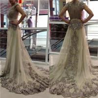 Wholesale kaftan bridal dresses - 2016 Sexy Champagne Dresses Kaftan Dubai Arabic Wedding Dresses Sheer Jewel Neck Cap Sleeves Tulle A Line Bridal Gowns Applique Beads