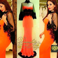Wholesale Prom Dresses Days - Real image in the Middle East Arab celebrity dress 2016 latest black lace applique wrap mermaid prom party dress Vestidos Day Carnival