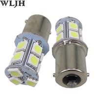 Wholesale Blue Indicator Lamp - WLJH 12V 1156 BA15S P21W 13 SMD 5050 13 LED Indicator Lamp Daylight DRL Foglight Turn Signal;Tail Light Reverse Lights