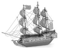 Wholesale Pirates Black Pearl Ship - 1 piece Metal Works DIY 3D Laser Models   Assemble Miniature Metal 3D Model,Metallic Nano Puzzle-Black Pearl Pirate Ship