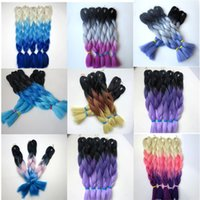 Wholesale Synthetic Hair Extensions Purple - Kanekalon Synthetic Braiding hair 20 24inch 100g Black+Dark Purple+Light Purple Ombre three tone color Jumbo braid hair extensions 8colors