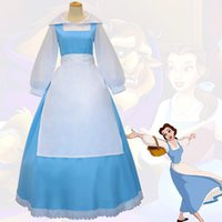Anime Beauty and the Beast Belle Maid Dress Cosplay Costume Women Blue Full Set Dress