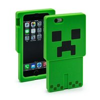Wholesale Iphone Cases Character - Minecraft Creeper Character Case 3D Cartoon creeper Silicone Case cover for iphone5 5s iphone6 6 plus Samsun S5 iPad Mini mini 2