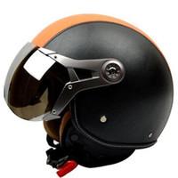 Wholesale Retro Full Face Helmet - New Motorcycle helmet retro 3 4 helmet vintage scooter open face helmet moto