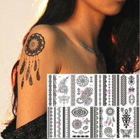 Wholesale Tattoos Express - 50pcs Black Lace Tattoo Temporary Henna Feather Butterfly Elepant Design Tatuagem Free Express