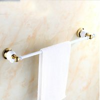 brass painting racks - And Retail Luxury Wall Mounted Towel Rack Holder White Painting Towel Bar Hanger Golden Finish Solid Brass Holder