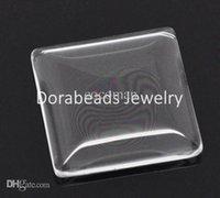Wholesale Square Glass Dome Tile Seals - Wholesale-Free Shipping! 10 Clear Square Glass Dome Tile Seals 25x25mm (B13939)