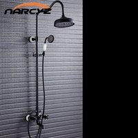 Wholesale Rain Shower Sets Bronze - Lifting Black Full Copper Rain Shower Set Black Bronze Retro European Style Antique Shower Set Shower Faucet XT311