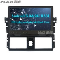 Wholesale Toyota Vios Gps Dvd - Quad Core 2G+16G Android 6.0 Car DVD Player for Toyota Yaris Vios 2014 with Radio RDS BT WIFI SWC GPS free map