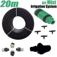 Wholesale Water Mist Hose - Micro Garden Mist Irrigation System 20m Watering Kits Sprinkler Water Misting PE Hose Kit Automatic Plant Irrigator 30pc Sprayer