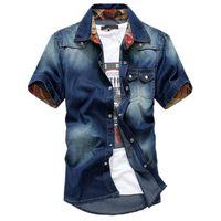Wholesale Bingo Shirts - Wholesale-Bingo Free shipping 2015 Summer Washing Charm jeans shirts short sleeve men's shirt white men's jacket Cowboy wear
