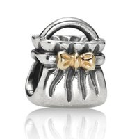 Wholesale Bow Fashion Jewelry - New! Wholesale Golden Bow Purse Charm 925 Sterling Silver European Charm Bead Fashion Jewelry Fits Snake Chain Bracelet